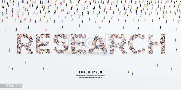 istock Research. Large group of people form to create Research. vector illustration. 1277091740