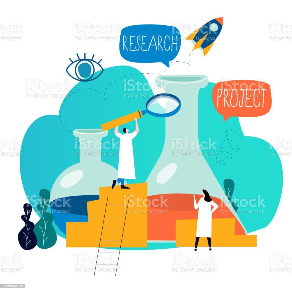 Research, science lab, scientific experiment vector art illustration