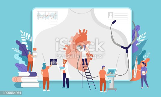 istock Research scientist. Science laboratory, chemistry scientists and clinical lab. Medical research items, clinical science laboratories experiments. Heart, cardiac problem, concept vector illustration 1209664264