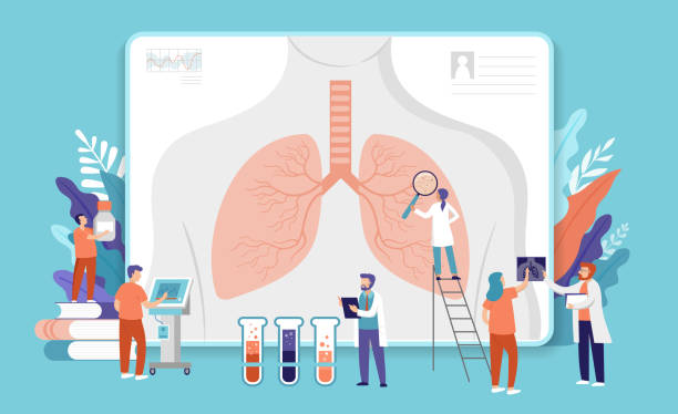 Research scientist. Science laboratory, chemistry scientists and clinical lab. Medical research items, clinical science laboratories experiments. Lungs, internal organ inspection, concept vector illustration vector art illustration