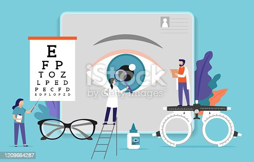 istock Research scientist. Science laboratory, chemistry scientists and clinical lab. Medical research items, clinical science laboratories experiments. Ophthalmology, eye test concept vector illustration 1209664287