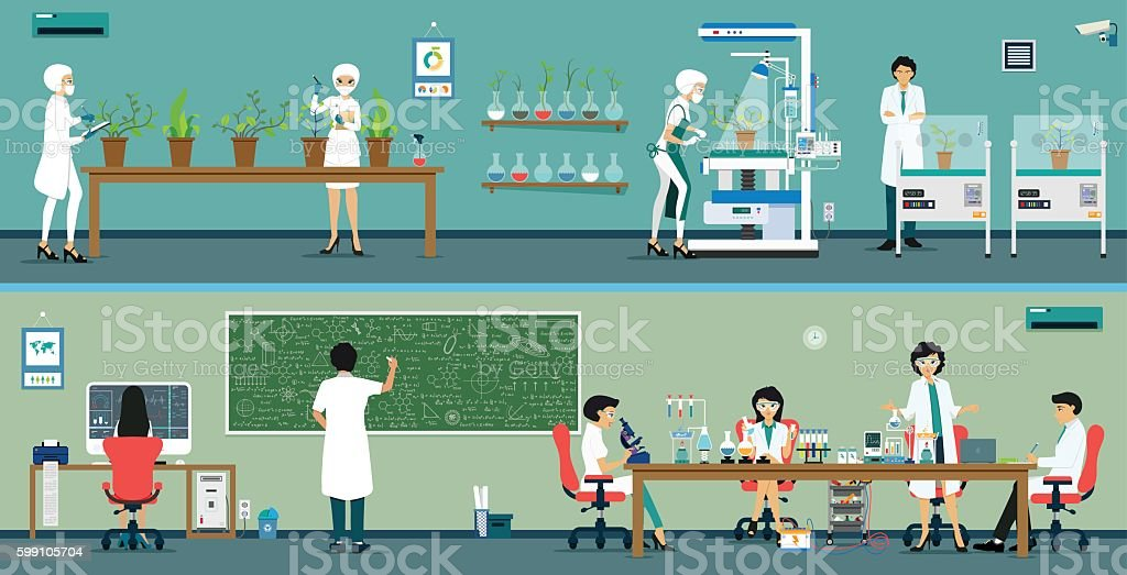 Research Scientist vector art illustration