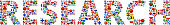Research World Flags Vector Buttons. The word is composed of various flag buttons. It represents globalization and cooperation between nations. The flag buttons fill in the letters and form a seamless pattern. Flags include United States, Great Britain, Germany, Canada, European Union, Russia, Switzerland, Israel, China and many more.
