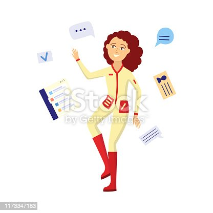 Researching and analysis of different sources of information concept - young woman in cosmonaut costume flies surrounded by e-mails and chats in isolated cartoon vector illustration.