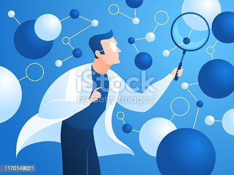 Researching scientist. Doctor in lab coat checks neural structure artificial neurons. Innovation scientific research vector algorithm pathway hold progress data concept