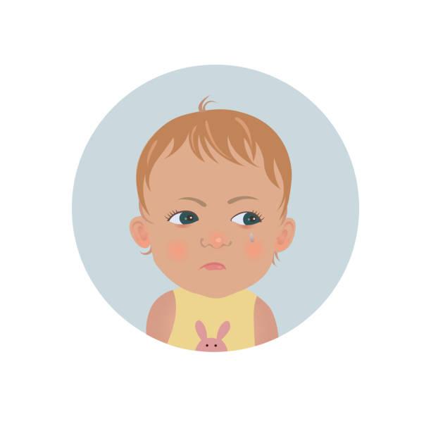 ilustraciones, imágenes clip art, dibujos animados e iconos de stock de emoticon de niño resentido. lindo bebé ofendido emoji. descontento niño sonriente expresión. - emoji celoso