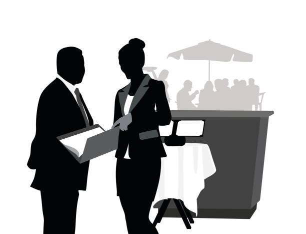 illustrazioni stock, clip art, cartoni animati e icone di tendenza di reservation reception - organizzatore della festa
