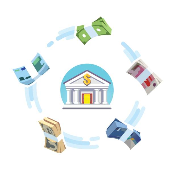 Reserve world currencies circulation concept Reserve world currencies circulation concept. Foreign money banking exchange. US, European, Great Britain, China, Japan cash bundles rotating around bank icon. Flat style vector isolated illustration. taiwanese currency stock illustrations