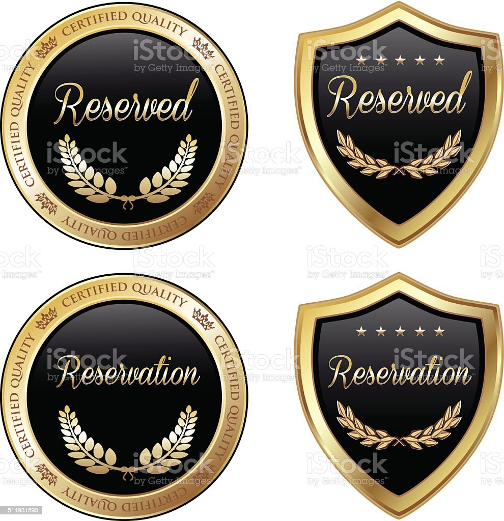 Reserved And Reservation Emblems vector art illustration