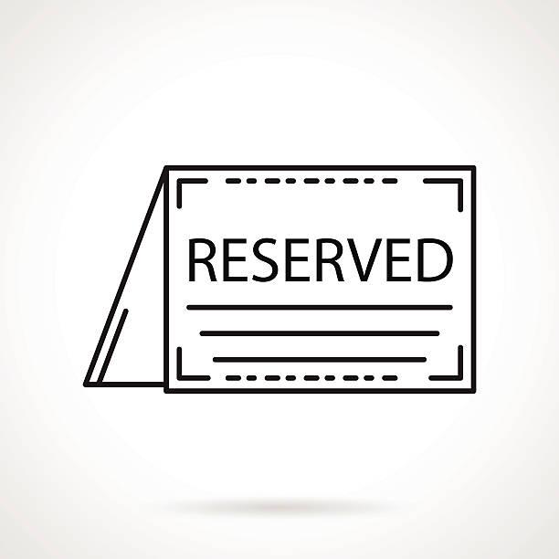 Reservados tarjeta vector iconos negro de línea - ilustración de arte vectorial
