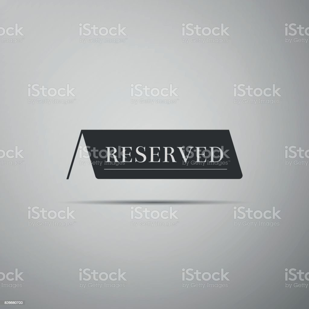Reserved flat icon on grey background. Vector Illustration vector art illustration