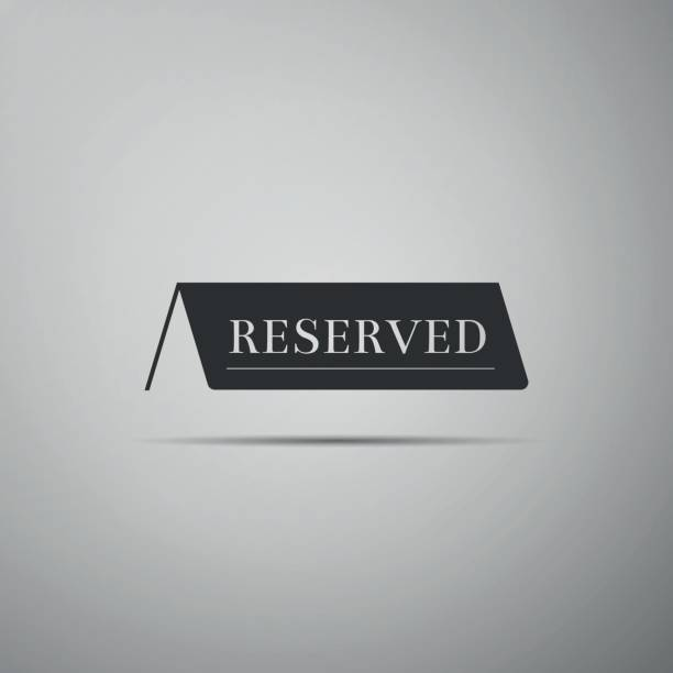 Reservados icono plano en fondo gris. Ilustración de vector - ilustración de arte vectorial