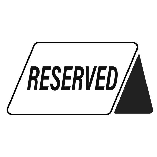 ilustrações, clipart, desenhos animados e ícones de ícone reservado no fundo branco. estilo simples. ícone reservado para seu projeto de web site, logotipo, app, interface do usuário. símbolo preto mesa reservada. - fine dining