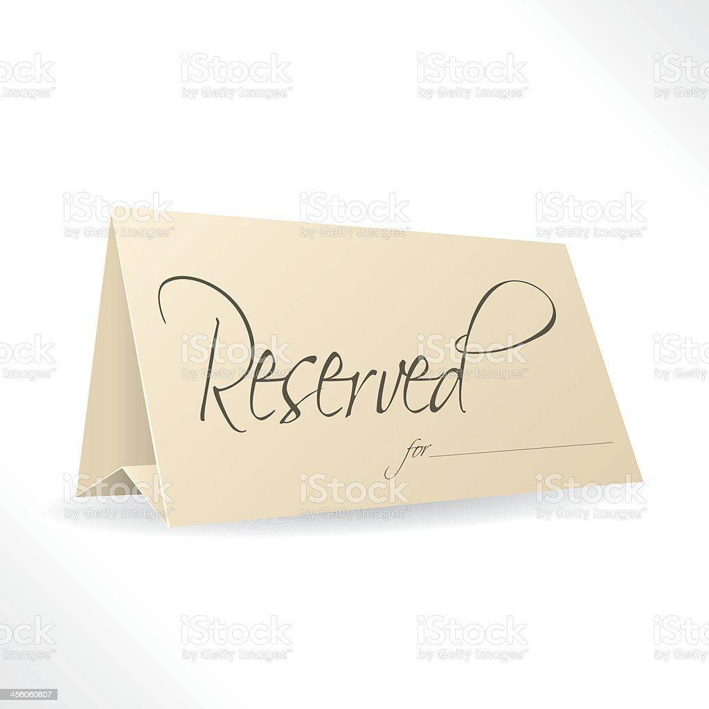 Reserved note with place for name vector art illustration