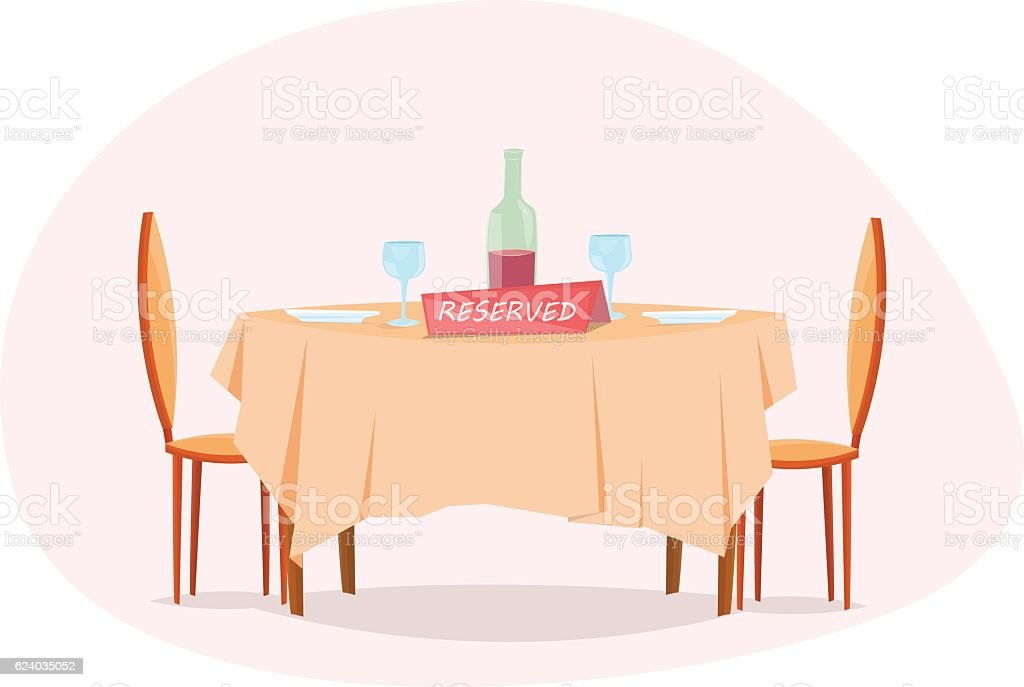 Reserved restaurant table vector art illustration