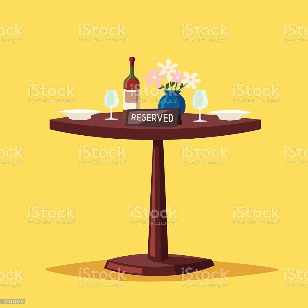 Reserved sign on the table in restaurant. Cartoon vector illustration vector art illustration
