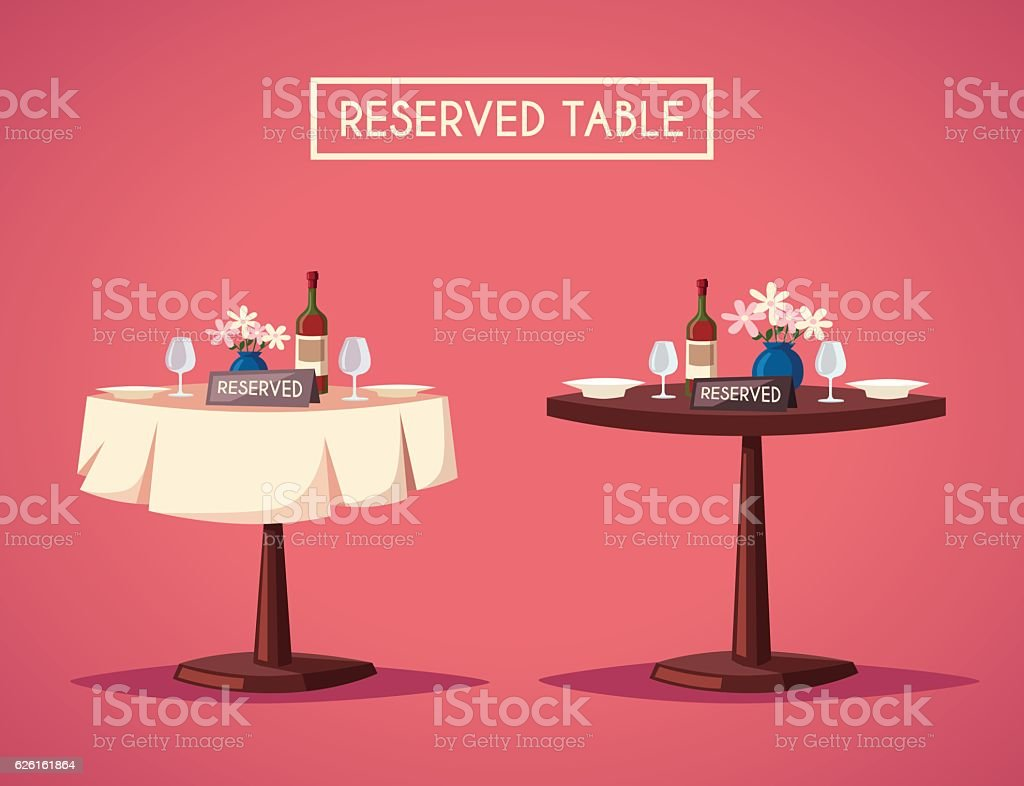 Reserved sign on the table in restaurant. Cartoon vector illustration vector art illustration