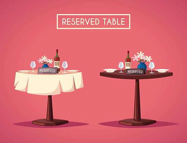 ilustrações de stock, clip art, desenhos animados e ícones de reserved sign on the table in restaurant. cartoon vector illustration - muita comida