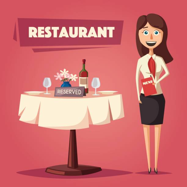 illustrazioni stock, clip art, cartoni animati e icone di tendenza di reserved table in restaurant. cartoon vector illustration - organizzatore della festa