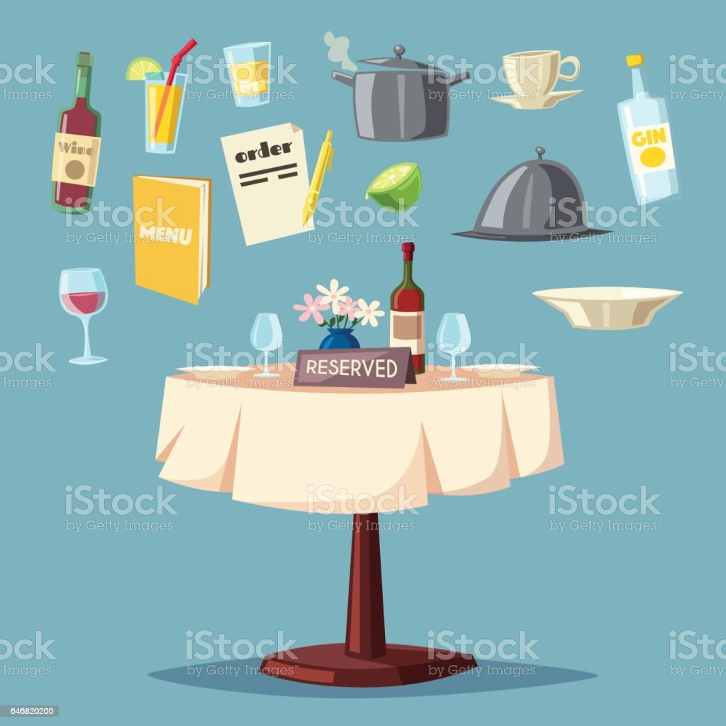 Reserved table in restaurant. Cartoon vector illustration vector art illustration