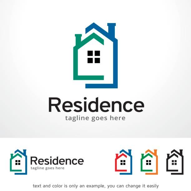 illustrations, cliparts, dessins animés et icônes de résidence symbole template design vecteur, emblème, design concept, création de symbole, icône - logos immobilier