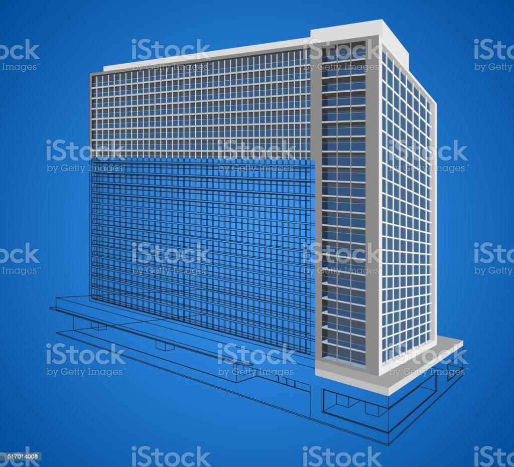 Resident building wireframe scene vector art illustration