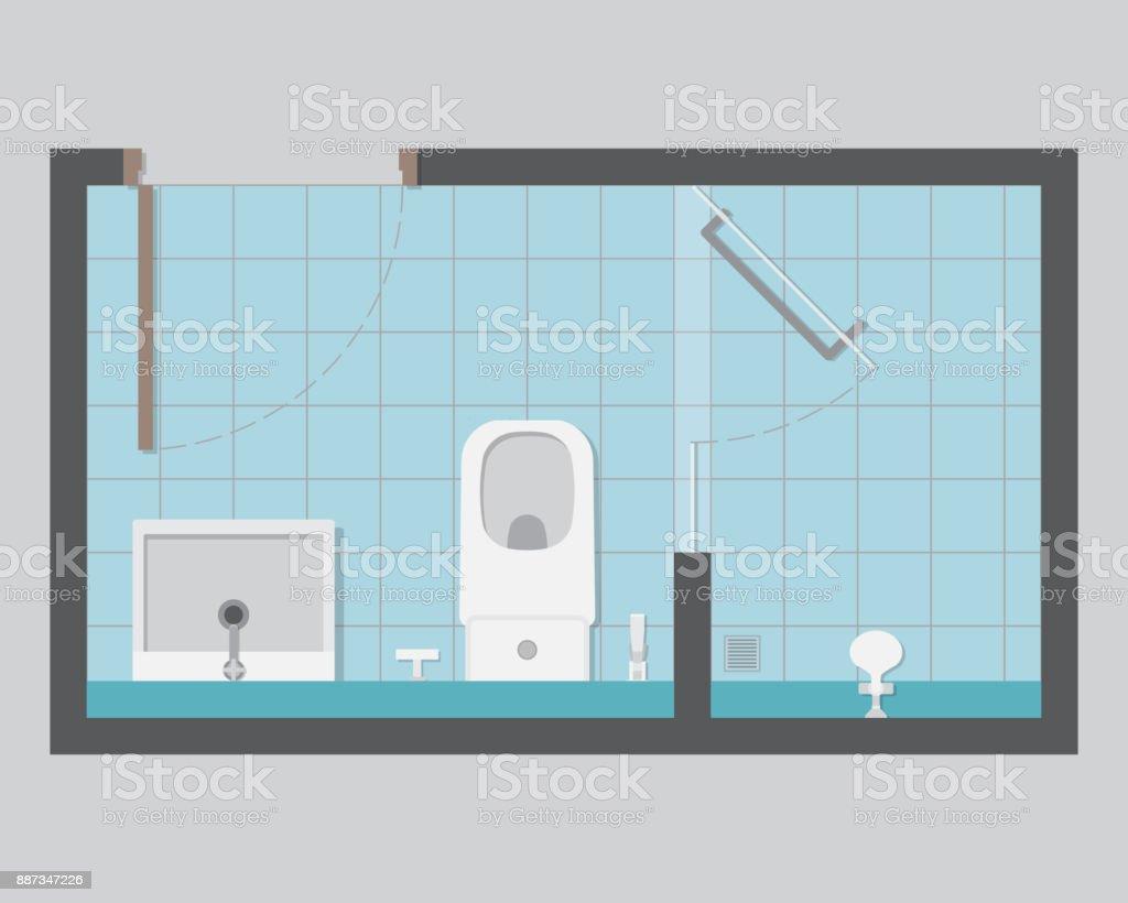 Resident WC-Draufsicht – Vektorgrafik
