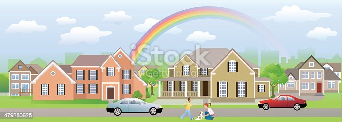 Homes, cars and kids playing with their dog under the rainbow