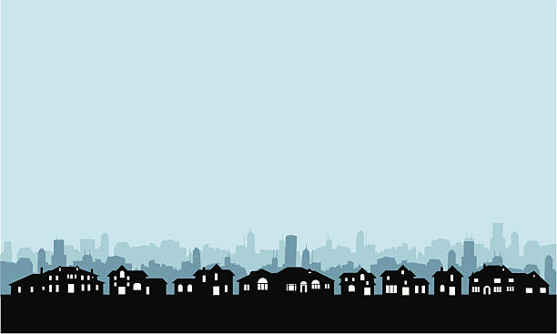 Residential Area Skyline Residential Area skyline background with copy space. Highly detailed homes -- big and small. residential district stock illustrations