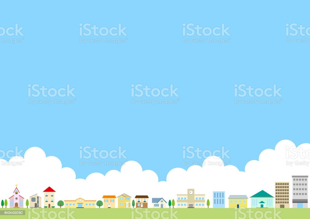 Residential area vector art illustration