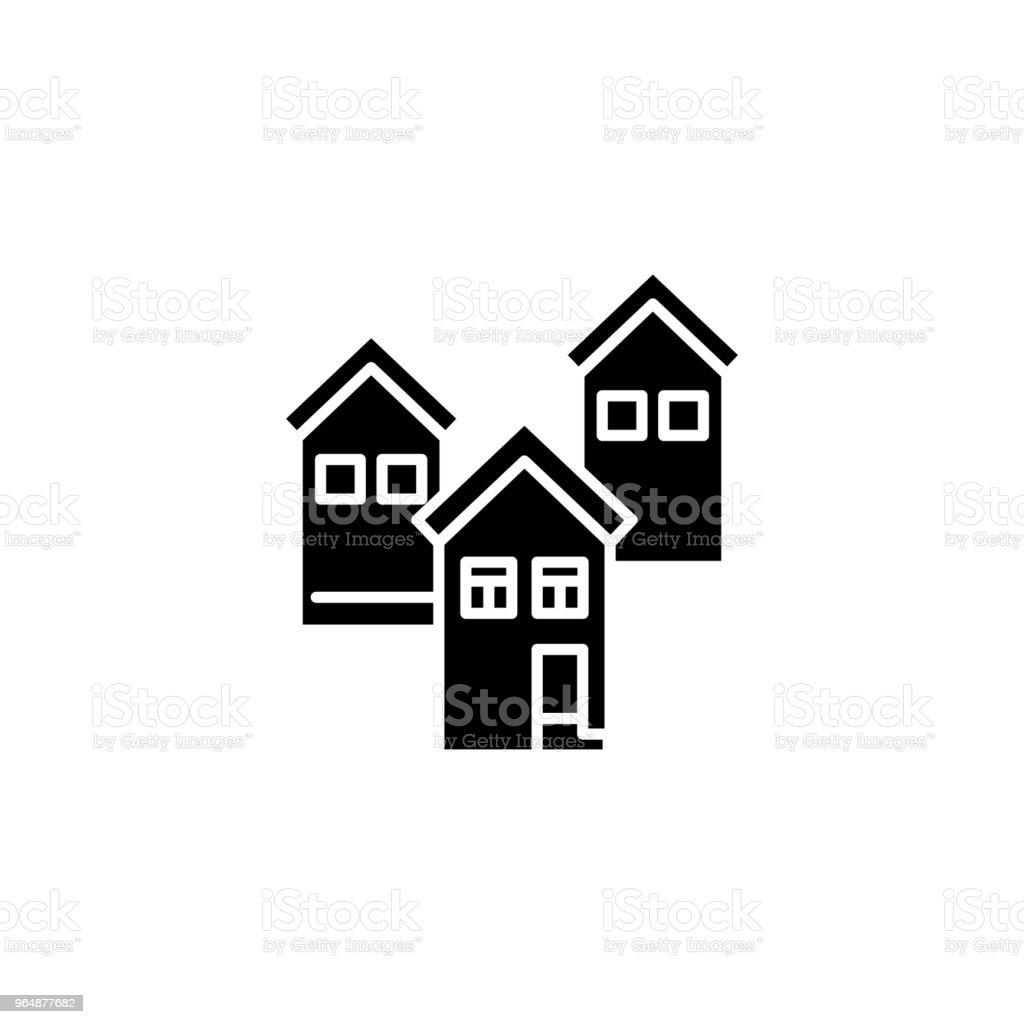 Residential block black icon concept. Residential block flat  vector symbol, sign, illustration. royalty-free residential block black icon concept residential block flat vector symbol sign illustration stock vector art & more images of no people