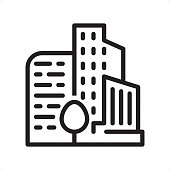 Residential Building — Professional outline black and white vector icon. Pixel Perfect Principle - icon designed in 64x64 pixel grid, outline stroke 2 px.  Complete Outline BW board — https://www.istockphoto.com/collaboration/boards/74OULCFeYkmRh_V_l8wKCg