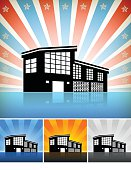 Royalty free vector art of a house residential Building Set against a star burst background. The home icon is black. The background has glow effect. Building has a shadow. Image works for real estate concepts. Icon download includes vector art and jpg file.