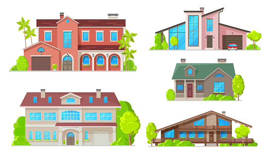 Residential buildings, real estate house and villa