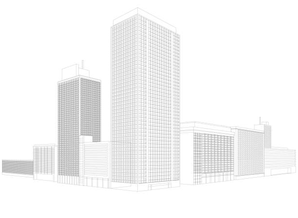 royalty free building wireframe clip art vector images