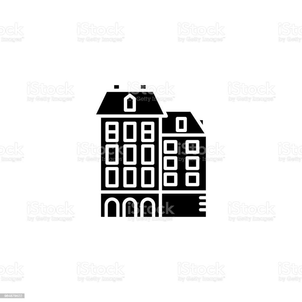 Residential complex black icon concept. Residential complex flat  vector symbol, sign, illustration. royalty-free residential complex black icon concept residential complex flat vector symbol sign illustration stock vector art & more images of no people