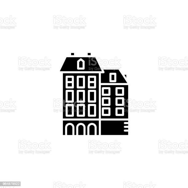 住宅複合黑色圖示概念住宅複雜平面向量符號 符號 插圖向量圖形及更多一組物體圖片