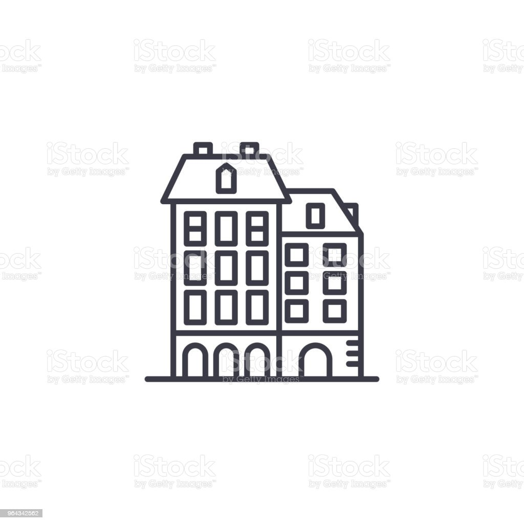 Residential complex linear icon concept. Residential complex line vector sign, symbol, illustration. vector art illustration