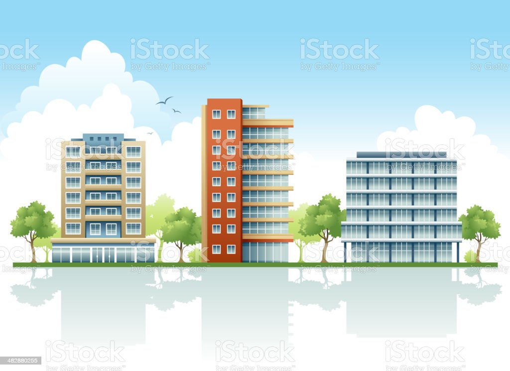 Residential Condo's in Row Against Blue Sky royalty-free stock vector art