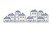 Real estate, residential district, apartment building, neighborhood concept, group of houses line icons