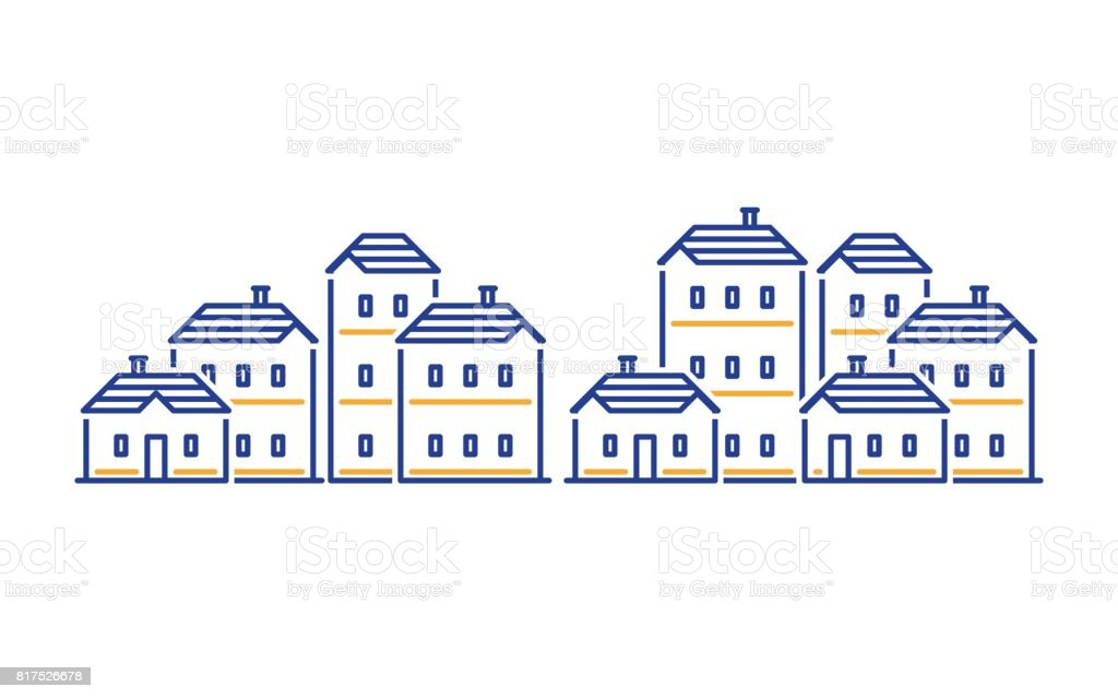 Residential district concept, real estate development, apartment building vector art illustration