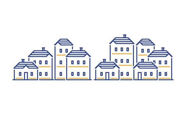 illustrazioni stock, clip art, cartoni animati e icone di tendenza di residential district concept, real estate development, apartment building - real life