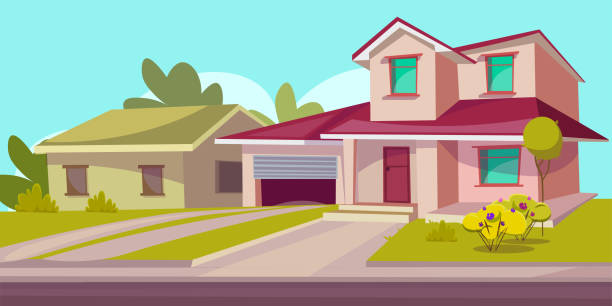 residential house flat vector illustration - suburbs stock illustrations