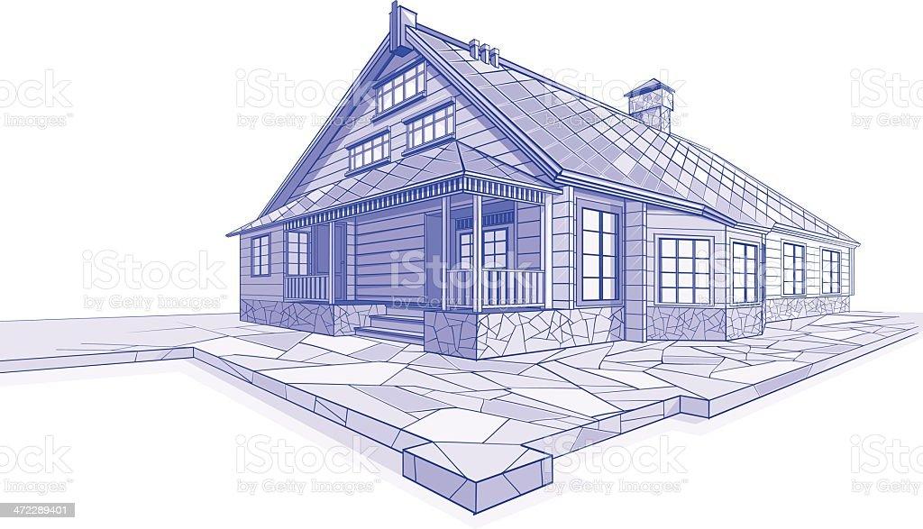 Residential House sketch Chalet vector art illustration