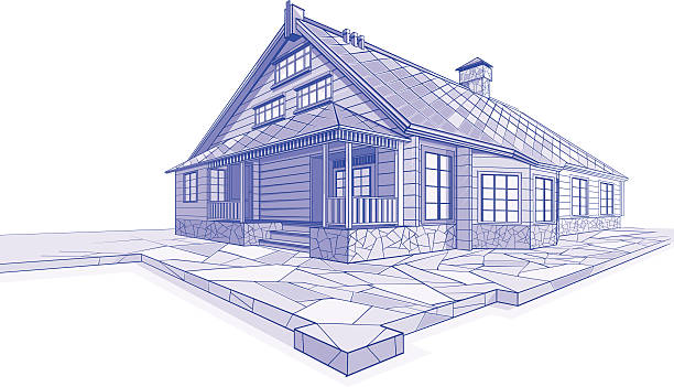 Residential House sketch Chalet Residential House sketch in blue colors. Chalet. architecture illustrations stock illustrations