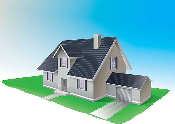 Residential house Vector illustration of a residential house in a suburbs. Family home. . EPS10 File. All elements are in separate layers . Easy to modify. driveway stock illustrations