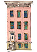 A traditional american urban facade of residential house with fire ladders. Cartoon. Caricature. New York city old facade.