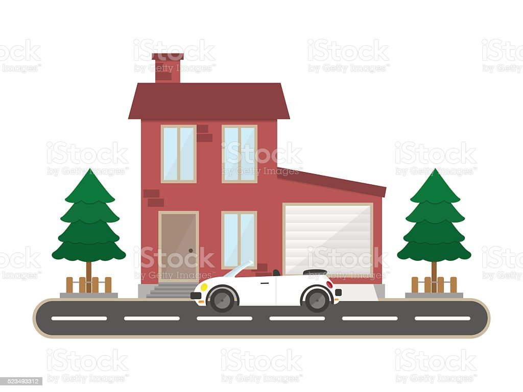 residential house with garage and sport car vector home building の