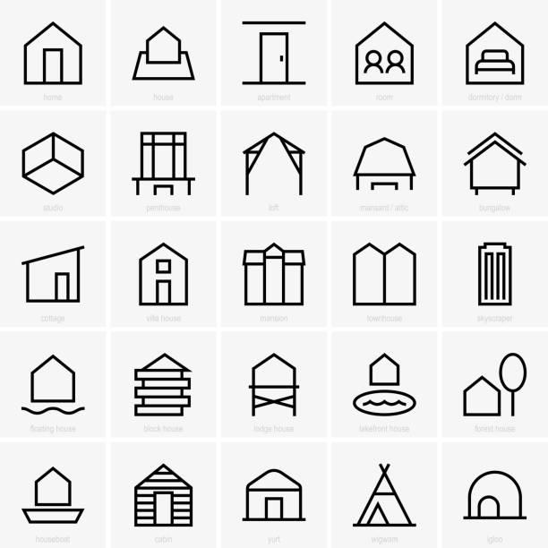 wohn-symbole - dachboden stock-grafiken, -clipart, -cartoons und -symbole