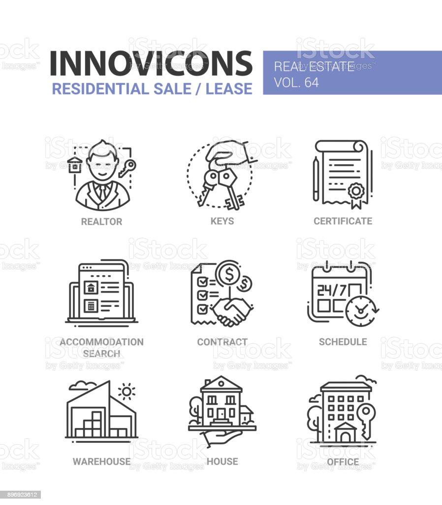 Vente d'habitation et bail - icônes du design ligne définie - Illustration vectorielle